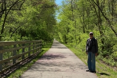 Much of Sangamon Valley Trail is tree-lined