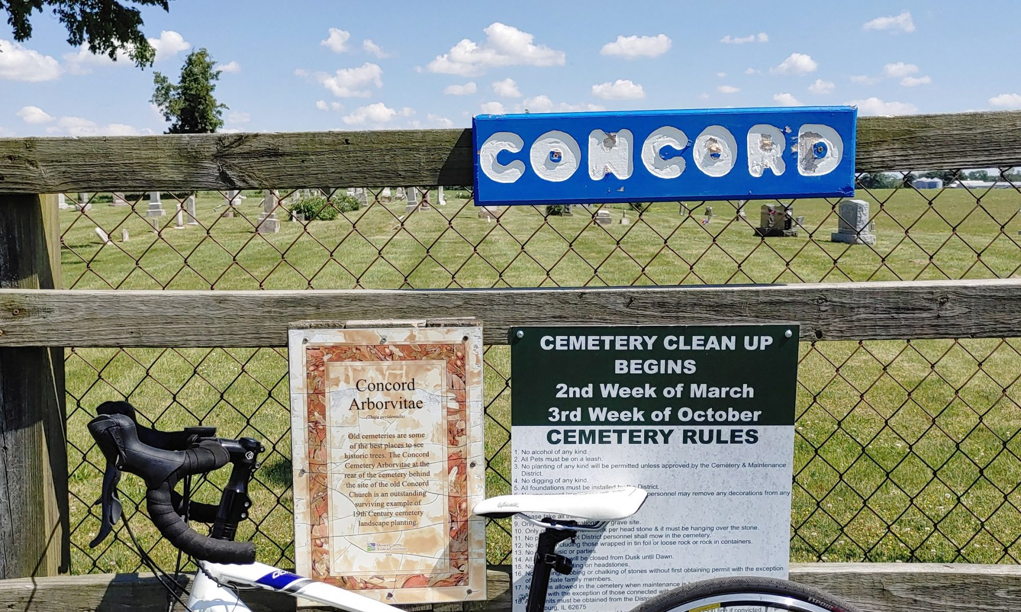 Bike at Concord Cemetery Entrance